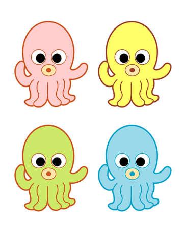 Cute Octopus Vector Illustration