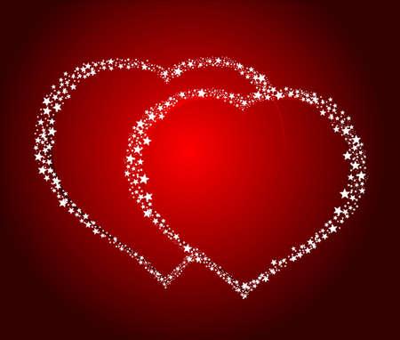 Deux Heart Love Valentine's Background Vector Illustration