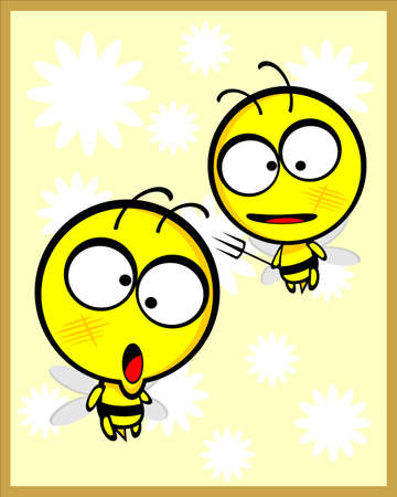 Cute Stupid Bee Vector Illustration