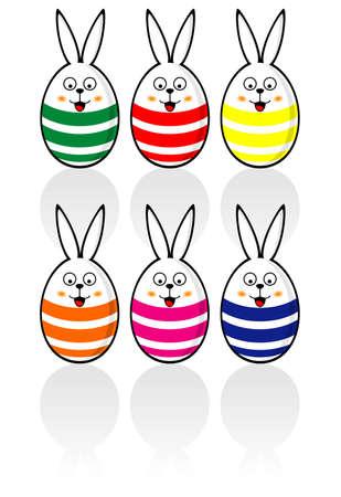 Easter Bunny Egg set Illustration