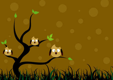 tree with little owl Vector Vector
