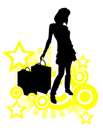 shopping girls Illustration