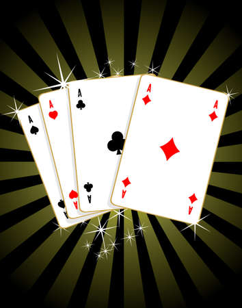 Game of cards with poker of aces Vector