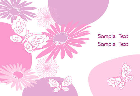 Beautiful Butterfly & Flower abstract vector Illustration