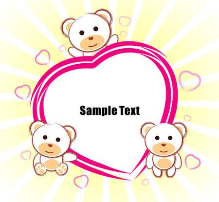 ours en peluche Love zone de texte Illustration