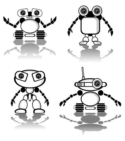 Cute little vector robots Illustration