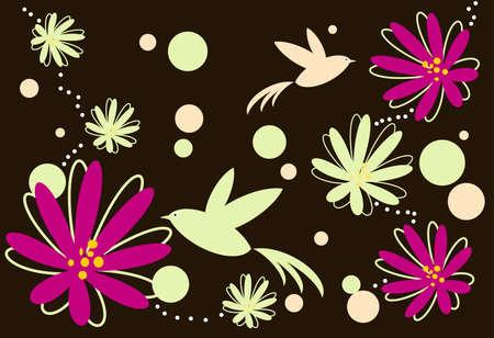 vecteur des oiseaux et des fleurs Banque d'images