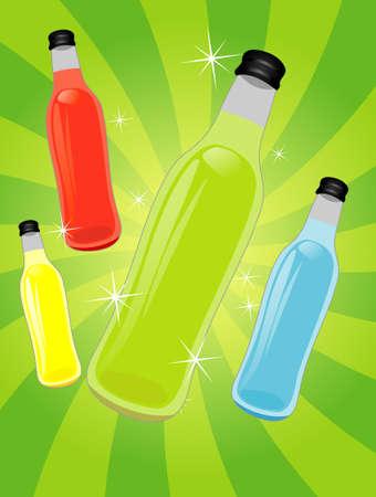 Soft drink bottles color set, Background Vector