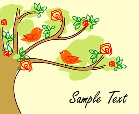 vector bird and tree Stock Photo - 5350332
