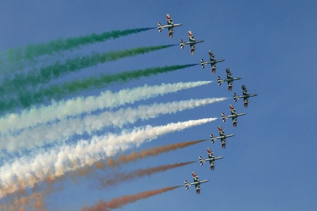 jet planes and tricolor flag