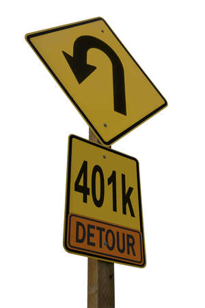 401k Detour Road Sign isolated on white background conceptualizing setbacks on the road to retirement. photo