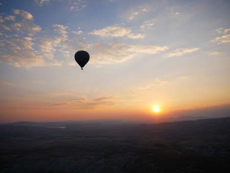 Watching the sunrise on a Turkish hot air balloon