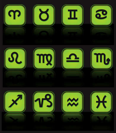 Horoscope green buttons Stock Vector - 6528232
