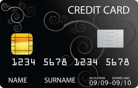plastic card: black credit card Illustration