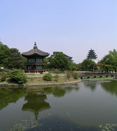 South Korean Temple surrounded by trees and water