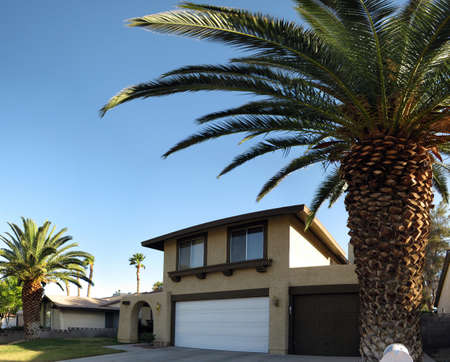 car garage: Las Vegas Home with large royal palms and three car garage.  Taken with a wide angle lense.
