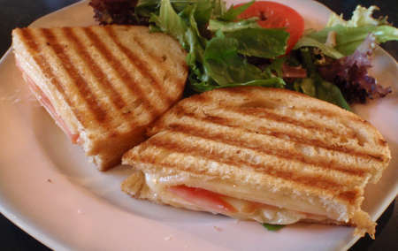 Grilled cheese and tomato sandwich on a plate with a side of organic spring lettuce
