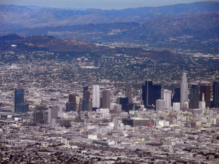 lax: Downtown los angeles aerial view taken from an airplane
