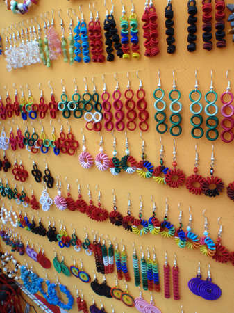 earing: Display of handmade Mexican earing Jewelry at a market place in Manzanillo, Mexico