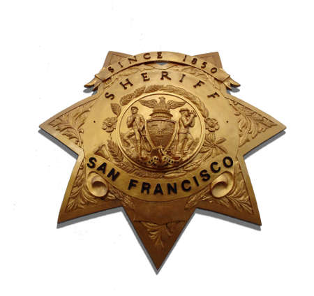 sheriff badge: San francisco desde 1850 insignia de Sheriff contra un fondo blanco