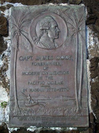endeavor: Capt. James Cook Plaque.  The Forerunner of Modern Civilization in the Pacific Ocean, in Hawaii 1778-1779 found on Iolani palace grounds.                                Stock Photo
