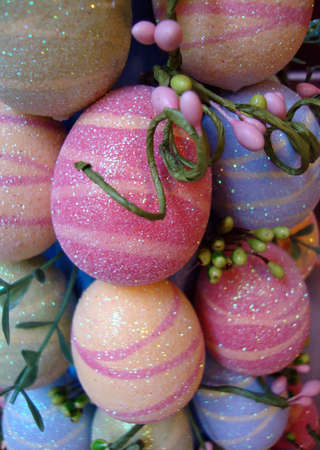 sparkled: display of sparkled Colored easter eggs