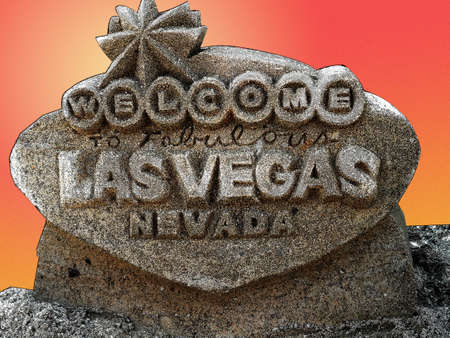 fabulous: Welcome to Fabulous Las Vegas sign, made of Sand done graphically Stock Photo