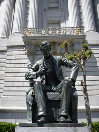 honest abe: Statue of Abe Lincon sitting down in Front of City Hall in San Francisco