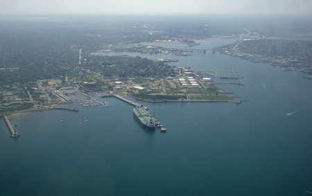 Aerial of oil tanker in port of a major oil refinery in Portland Maine harbor