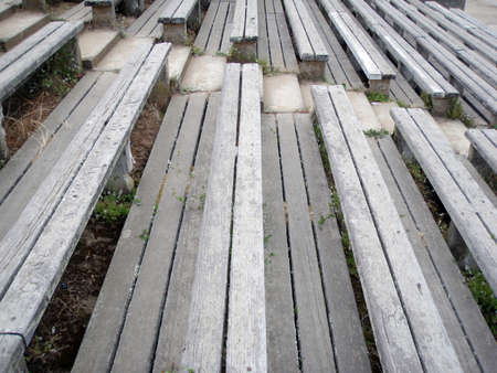 as far as the eye can see: Old wooden bleachers stretch as far as the eye can see.  Taken at Golden Gate Park.