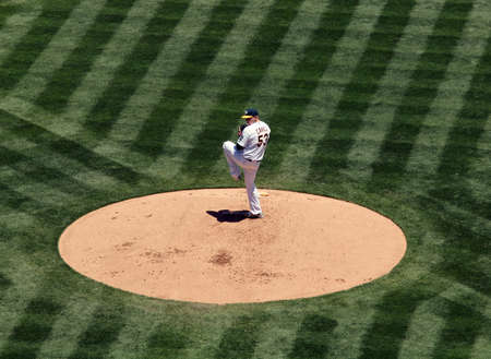 cahill: As starting pitcher Trevor Cahill lifts leg as he prepares to pitch.  June 10 2010 Oakland coliseum California