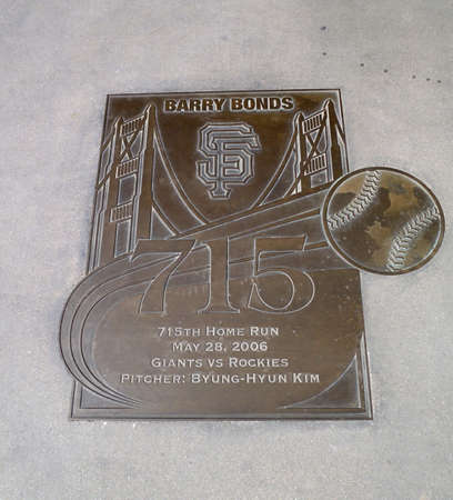 homerun: Bronze Emblem commerating the 715 homerun of Barry Bonds with which he surpassed Babe Ruth homerum record and became number two on the all time home run record on his way to becoming the homerun king.  outside of AT&T Park in San Francisco, California.  T