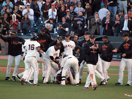Giants Vs. Marlins: Giants Andres Torres get dog piled by teammates as they try to tap him on the helmet in congragulations after game winning hit.  July 28  2010 Att Park San Francisco California