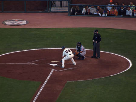 Mets vs. Giants: Giants Buster Posey measures the plate as he steps into the batters box.  Taken July 17 2010 at the ATT Park San Francisco.
