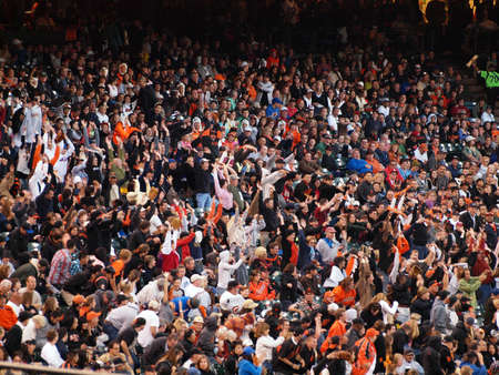 baseball crowd: San Francisco Giants Vs. New York Mets: San Francisco Giants fans do the wave during the late innings to stay entertained.  Taken July 17 2010 at the ATT Park San Francisco California.