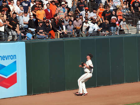 San Francisco Giants Vs. Florida Marlins: Giants Aubrey Huff Watches a home run fly over his head in left field.  Taken July 28 2010 at ATT Park in San Francisco California.