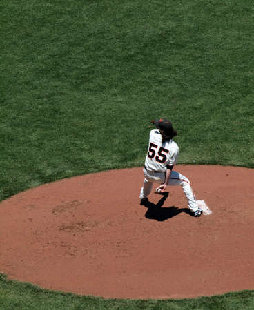 orioles: Giants Vs. Orioles: Giants two time Cy Young award winner Tim Lincecum in pitching motion during a day game.  June 16 2010 Att Park San Francisco California Editorial