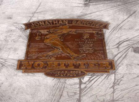 Jonathan Sanchez - No Hitter Plaque shorty after it was unvieled at ATT park in San Francisco Califorina September 22 2009.