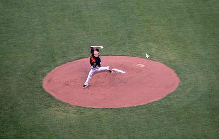 orioles: Giants Vs. Orioles: Orioles Chris Tillman in motion to throw a pitchduring a night game.  June 14 2010 Att Park San Francisco California