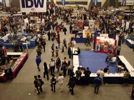 con: Overhead of booths and attendants at the WonderCon Comic convention taken April 4 2010in San Francisco California Editorial