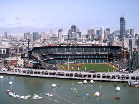 homerun: AT&T ballpark before the Homerun Derby at the 2007 All Star baseball game.  With many boats visible in cove next to the park