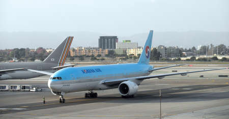 Large Korean Air Plane Taxis into LAX 12-01-2009 LAX airport Los Angeles California Editorial