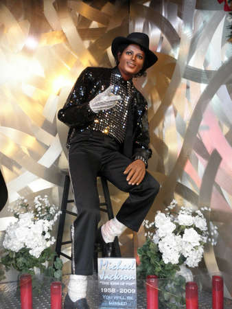 Wax Statue of Michael Jackson of his Billie Jean outfit. At the Wax Museum by Fishermans Wharf in San Francisco California on 12-18-2009
