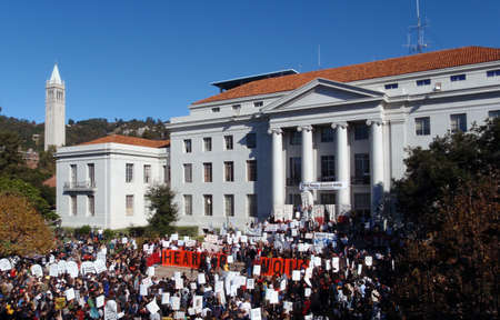 Hundreds of UC Berkeley students, the faculty and staff Protest in Sproul Plaza to Save the students from fee hikes of up 32 percent, November 18th 2009