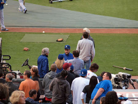 Dodger vs. Giants: Manager Joe Torre talks with people before the start of game.    July 30, 2010 Att Park in San Francisco CA.