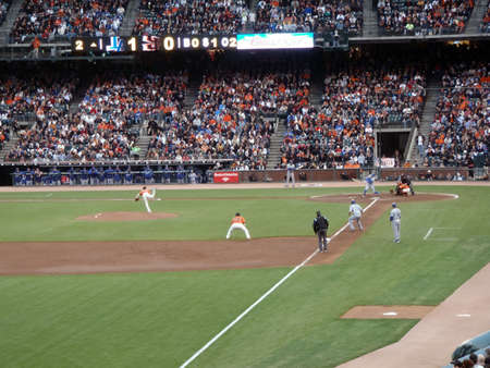 Dodger vs. Giants: Giants Tim Lincecum throws pitch by a Dodger as Catcher Buster Posey catches ball with Dodger runner Blake DeWitt taking lead at 3rd.  Taken from the 3rdbase line on July 30, 2010 Att Park in San Francisco