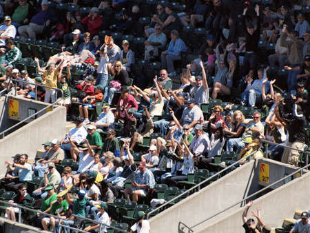 baseball crowd: Blue Jays vs. Athletics: Athletics Some Athletics fans do the wave while other chpice to remain sitting.  Taken on August 18 2010 at Coliseum in Oakland California.