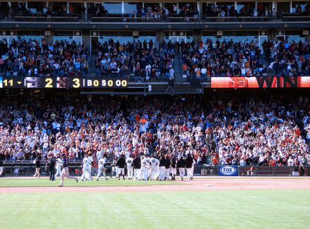 San Diego Padres Vs. Giants Celebrate a win with their fans   Taken August 14 2010 at ATT Park in San Francisco California.