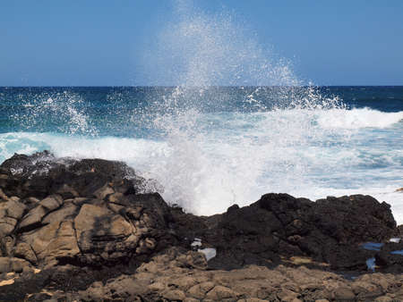 Wave crash and burst into the air at Makapuu beach on Oahu Hawaii Stock Photo - 7946065