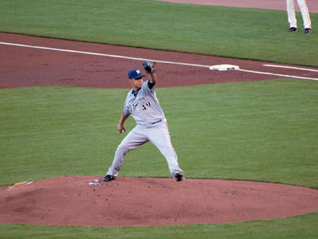 dodgers: Brewers vs. Giants: Brewers Yovani Gallardo steps forward to fire pitch.  September 18 2010 at the ATT Park San Francisco California.